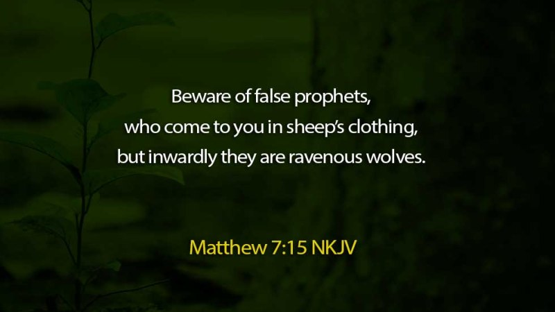 Word of the day: Matthew 7 vs 15 – Beware of False Prophets and Doctrines