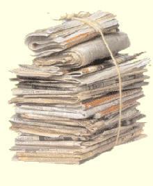 Oud papier container verplaatst