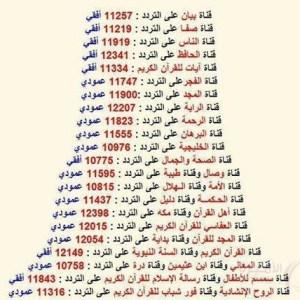 ترددات قنوات القرآن الكريم على القمر الصناعي نايل سات 2015