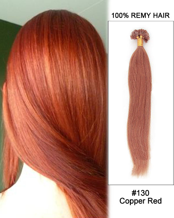 16 130 Copper Red Straight Nail Tip U 100 Remy Hair Keratin