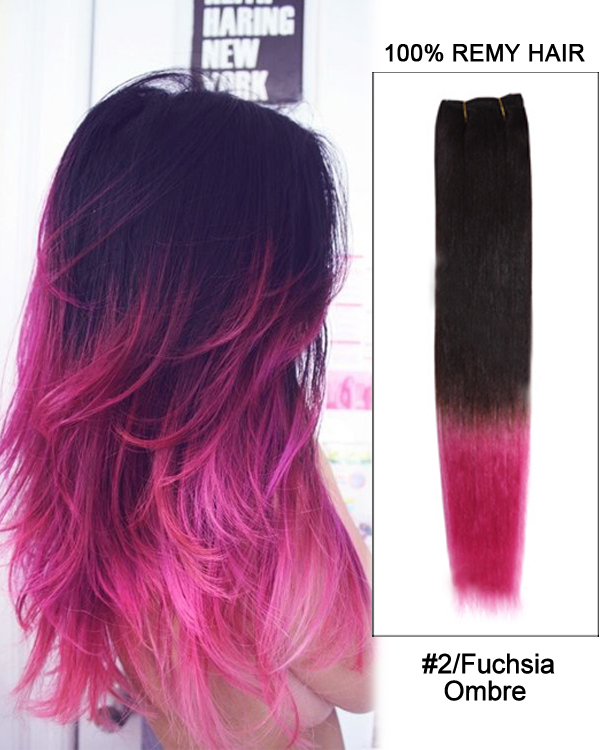 16 2Fuchsia Ombre Straight Weave 100 Remy Hair Weft