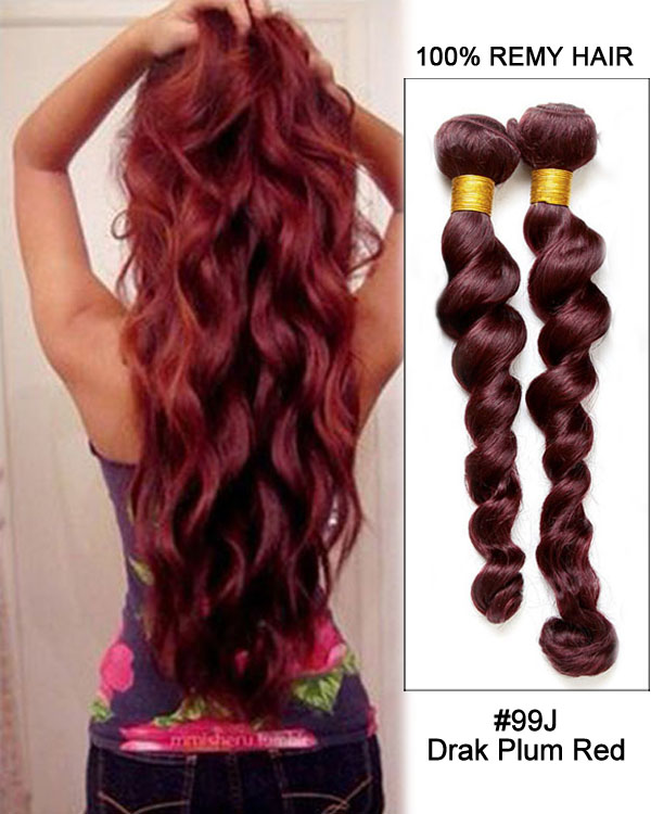 24 Loose Wave 99J Dark Plum Red Remy Hair Weave Weft