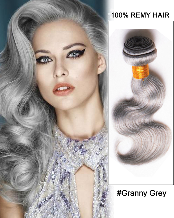18 Granny Grey Weave Body Wave Weft Remy Human Hair