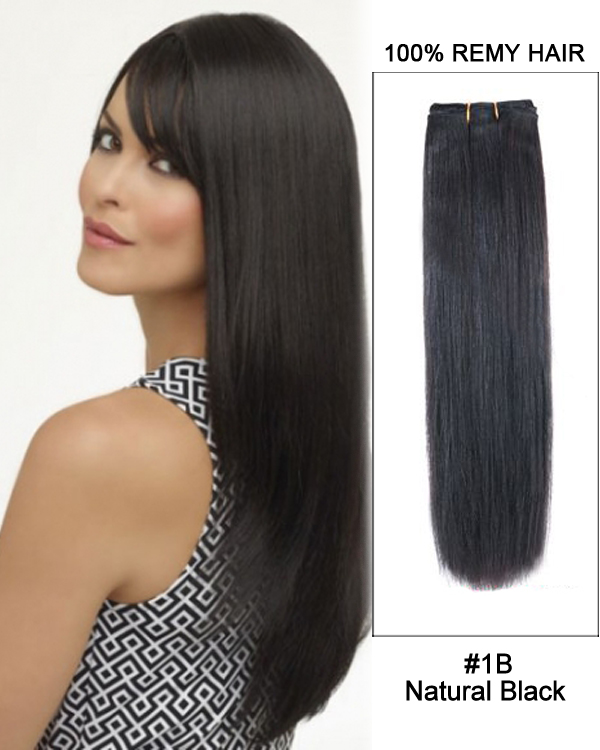 141B Natural Black Straight Weave 100 Remy Hair Weft