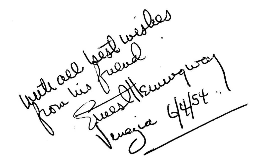 La firma di Hemingway sulla edizione inglese di Per chi suona la campana