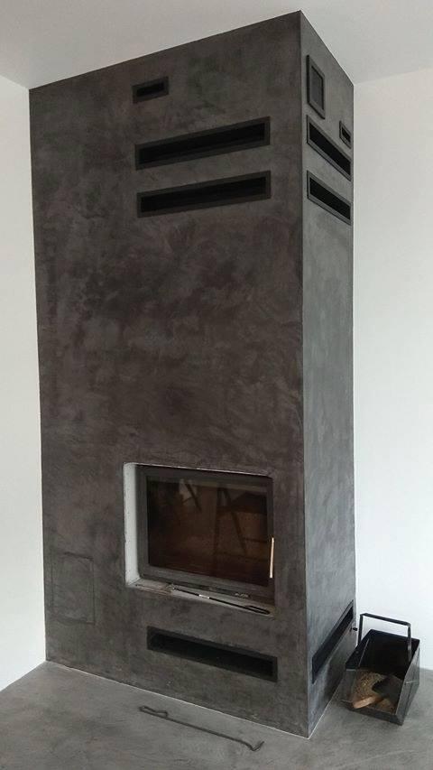 efekt betonu na kominku