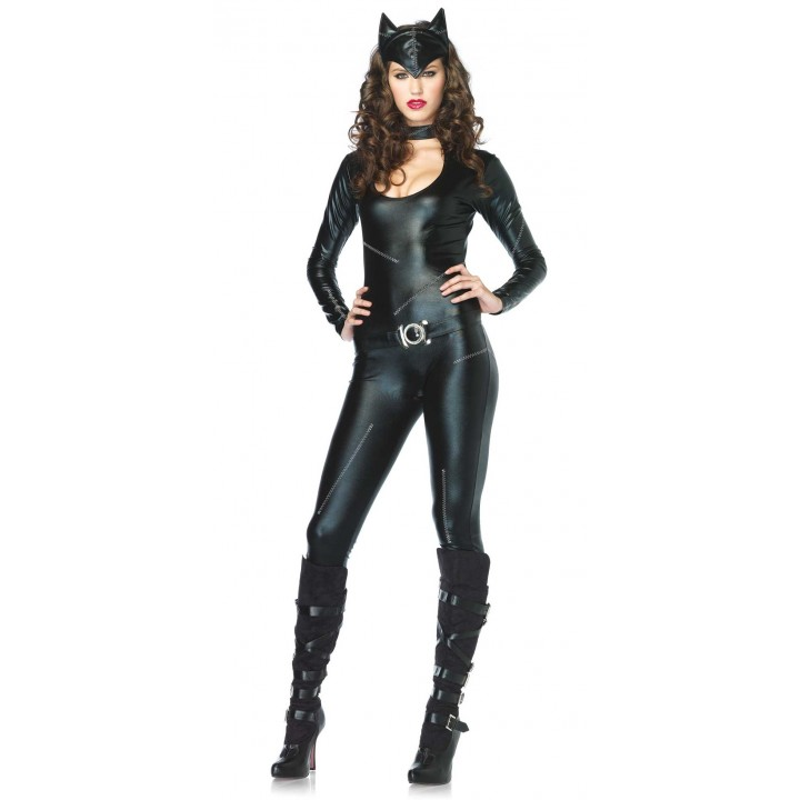 deguisement feline combinaison latex noir sexy