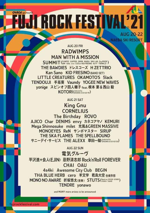 【FUJI ROCK FESTIVAL'21】フジロック第1弾発表で、電気グルーヴ、RADWIMPS、King Gnuら決定