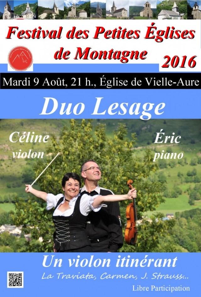 Duo Lesage violon et piano à Vielle-Aure le 9 août