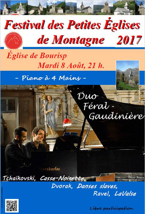 concert de piano à 4 mains à Bourisp vallée d'Aure Pyrénées