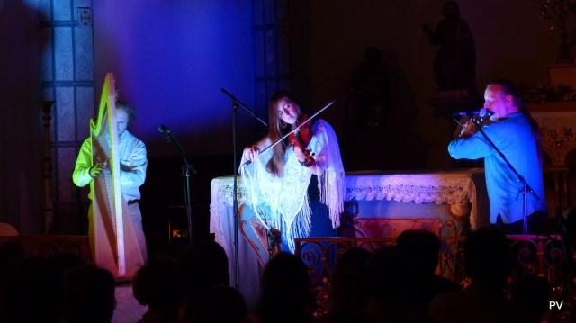 Concert de musique celtique par le groupe Bogha en vallee du Louron dans les Pyrénées