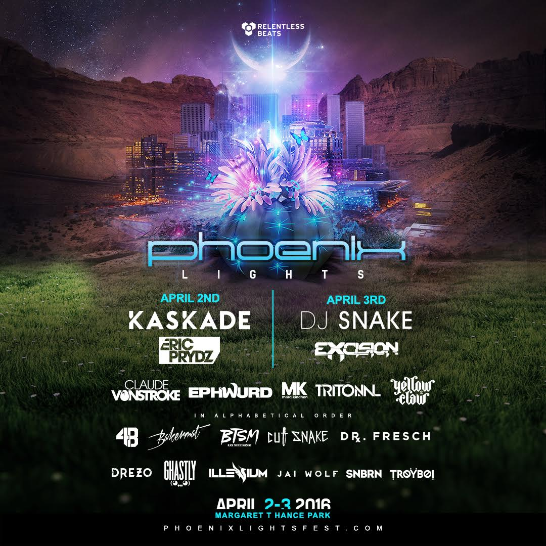 Phoenix Lights Festival Announces Headliners Kaskade, DJ Snake, Eric Prydz & Excision in 2-day Festival