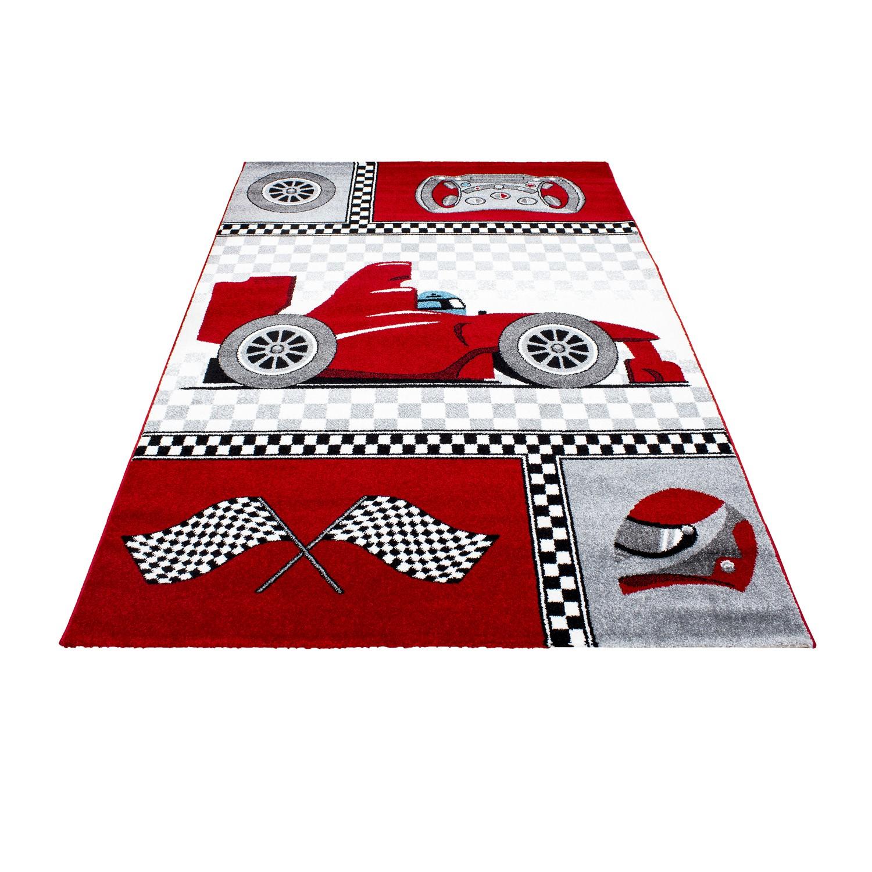 tapis pour chambre de garcon rouge et gris speed