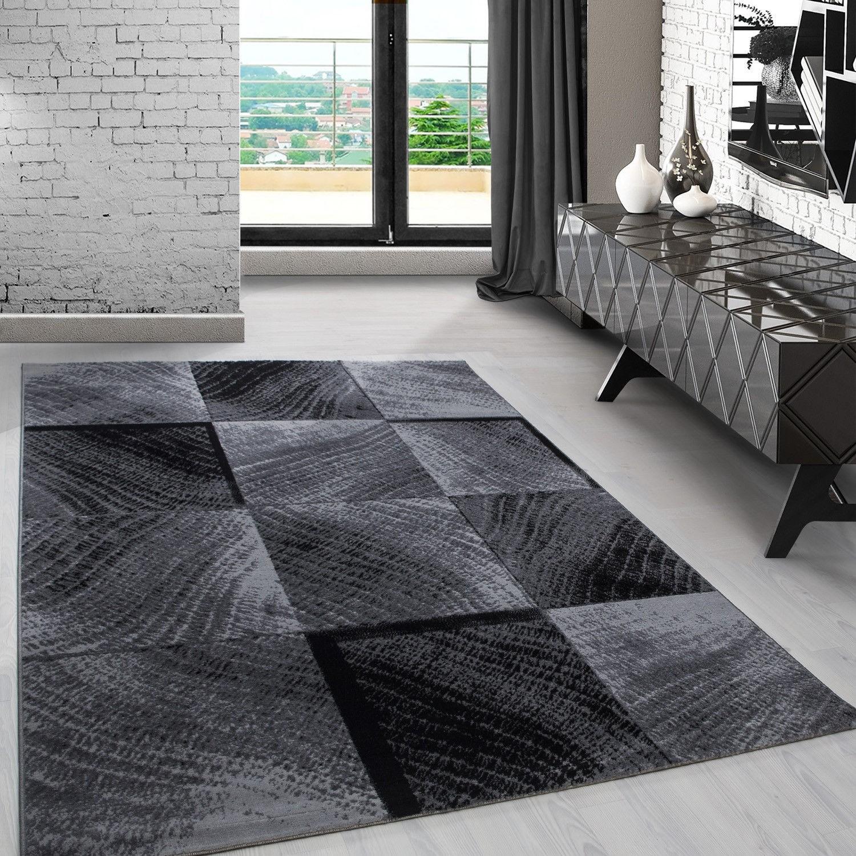 tapis contemporain argente gris noir en polypropylene markus