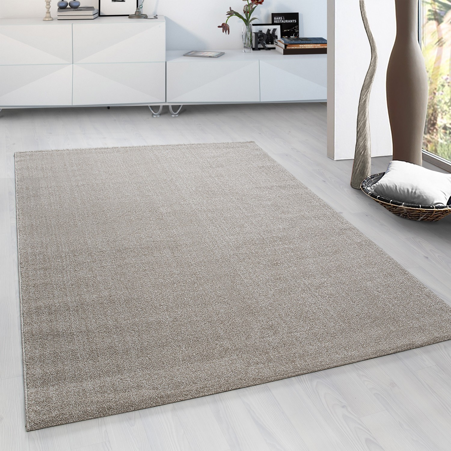 tapis a courtes meches microfibre doux taupe beige velluto
