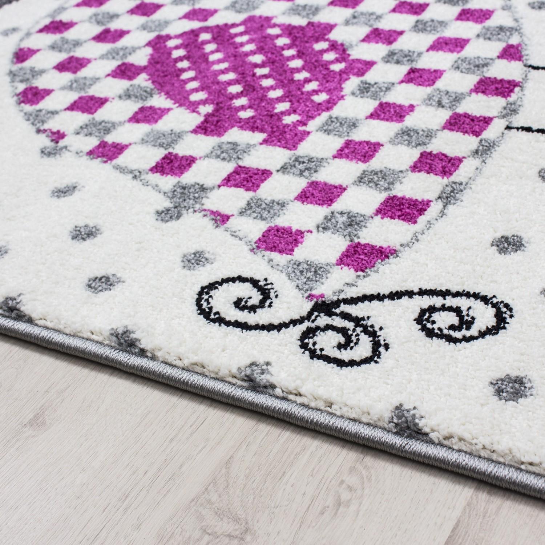 tapis pour chambre bebe fille lila rose et gris