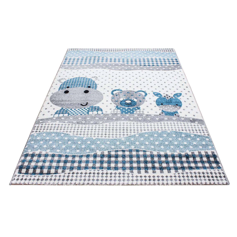 tapis pour chambre enfants kids blue gris