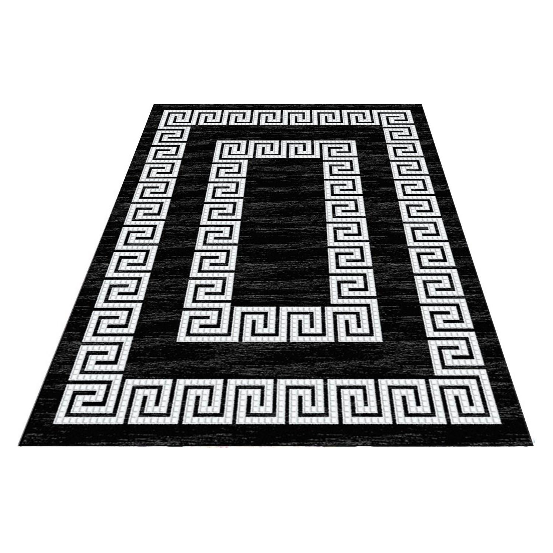 tapis a motifs baroque noir de salon neo