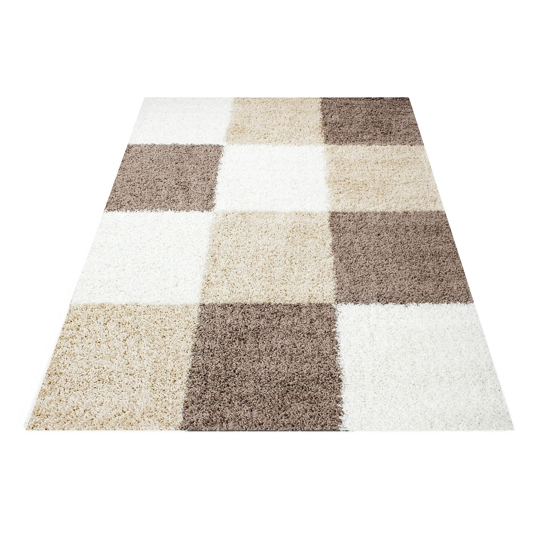 tapis shaggy longues meches brun beige cream hautes carreaux vasco