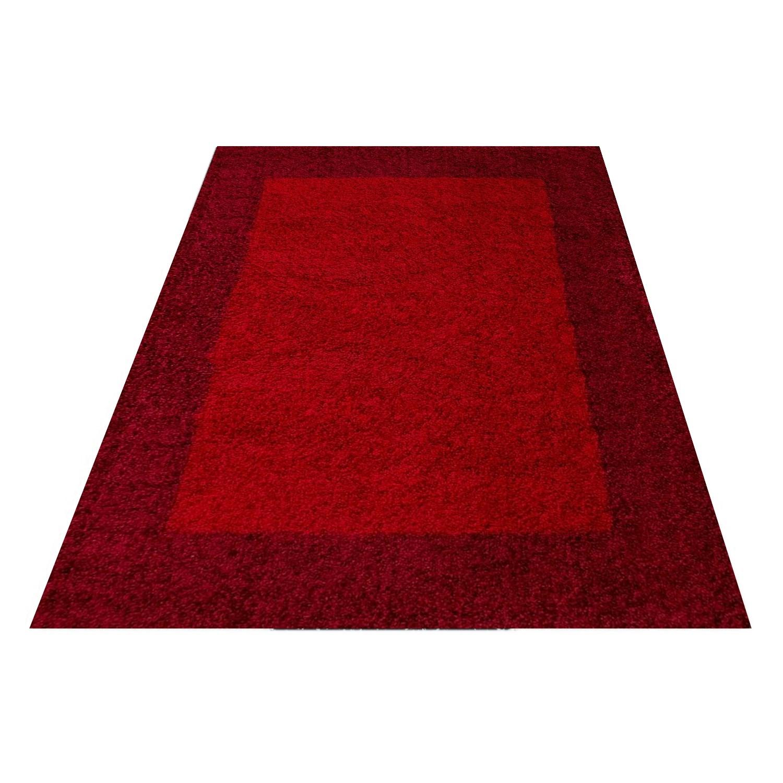 tapis shaggy rouge moderne tapis design en polypropylene vasco