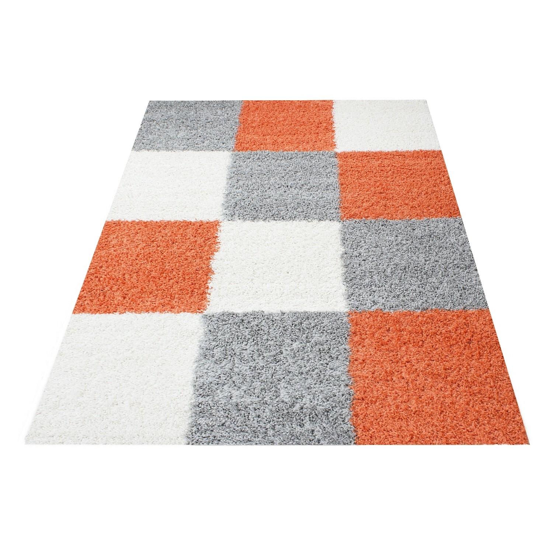 tapis shaggy longues meches orange gris cream hautes carreaux vasco