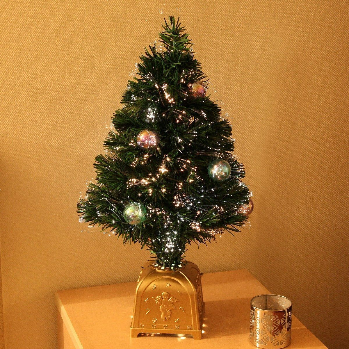 2ft Artificial Fibre Optic Table Top Christmas Tree Qith Bauble Decorations