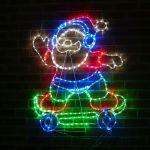 1m Outdoor Animated Rope Light Christmas Santa On Skateboard Silhouette