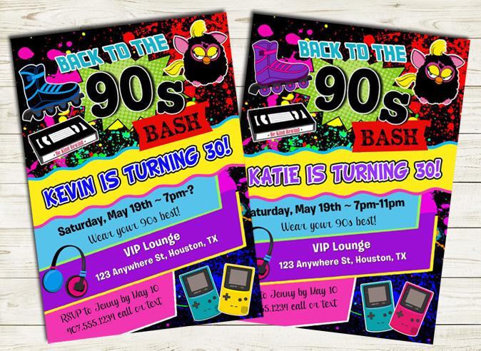 90s birthday party invitations