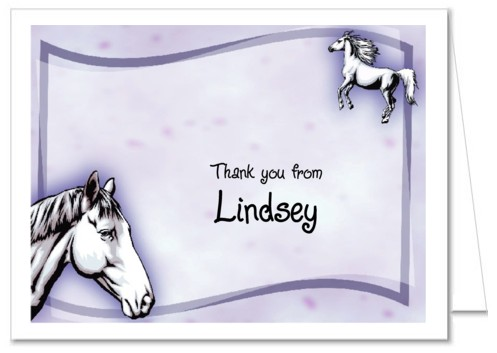 Horse Birthday Party Thank You Note Cards Personalized