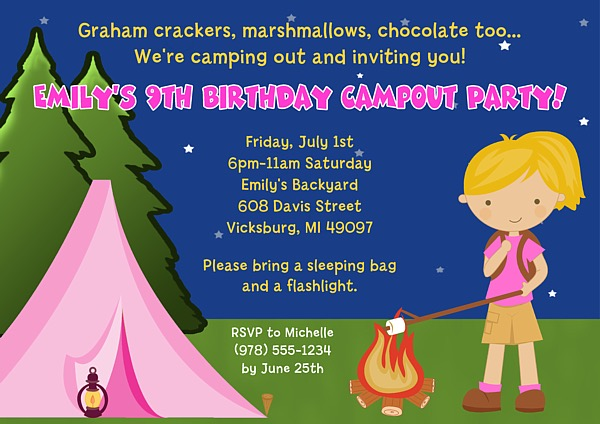 Camp Out Camping Birthday Party Invitations Girl  Camp