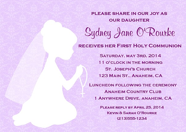 First Holy Communion Religious Girl Invitations Religious