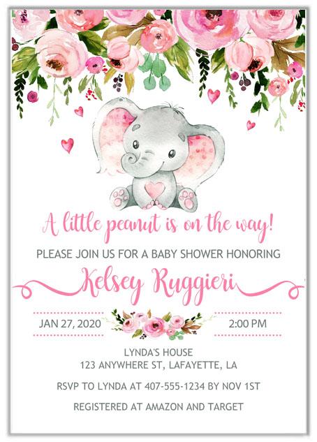 Elephant Girl Baby Shower Invitations  Baby Shower