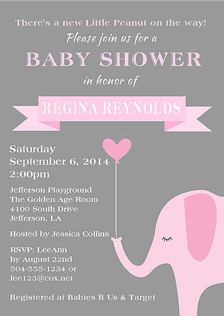 Yellow And Gray Baby Shower Invitations