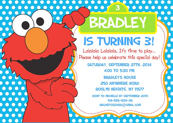 Elmo Birthday Party Invitations  Sesame Street  Kids