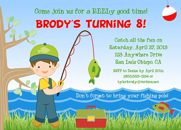 Fishing Birthday Party Invitations Fish Ocean Sea Kids