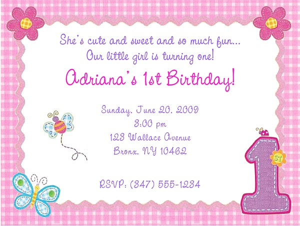 Hugs And Stitches 1st Birthday Girl Party Invitations