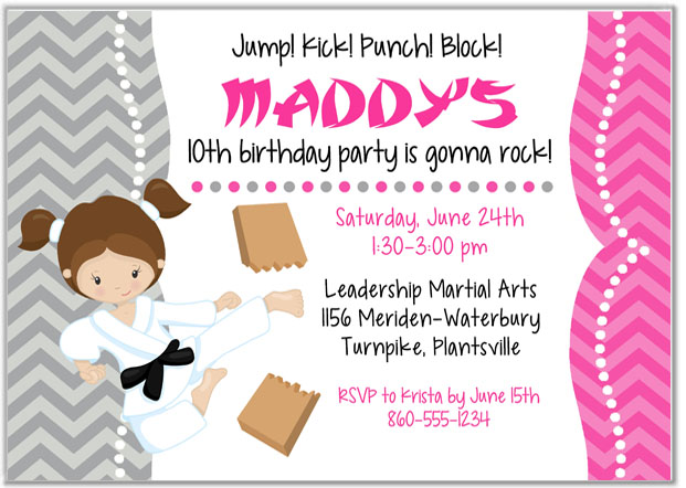 Karate Tae Kwon Do Martial Arts Birthday Party Invitations Girl  Karate  Kids Birthday