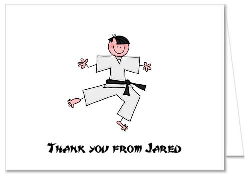 Karate Thank You Note Cards Personalized