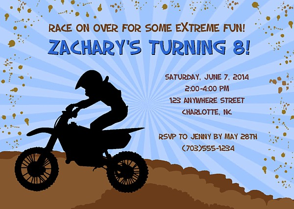 Dirt Bike Motocross Birthday Party Invitations Dirt Bike