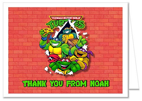 Teenage Mutant Ninja Turtles Thank You Note Cards Personalized