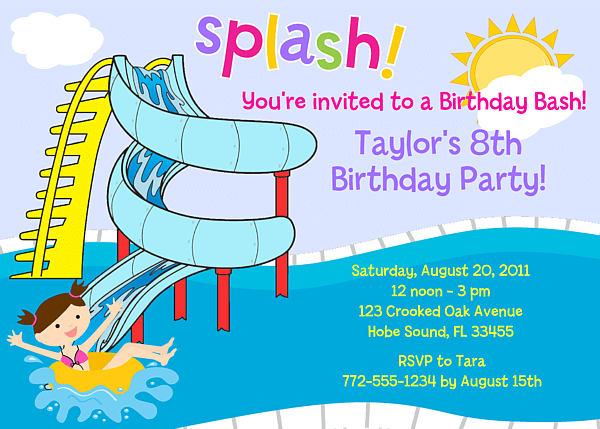 waterslide pool party birthday invitations swimming pool party bbq summer kids birthday