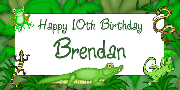 reptile birthday party banner