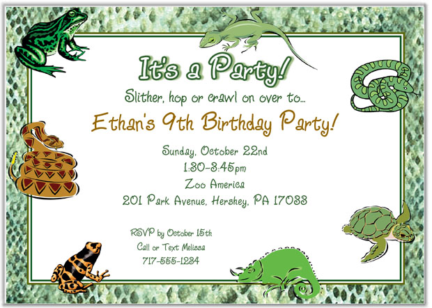 Reptile Birthday Invitations Printable Free