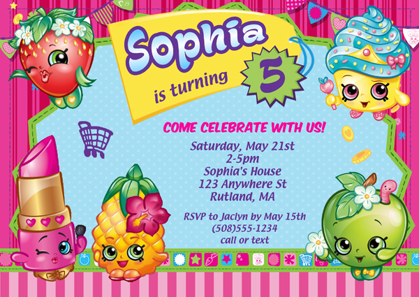 shopkins birthday invitations greeting