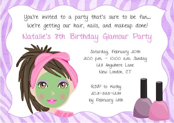 Spa Makeover Birthday Party Invitations  Glamour Makeover Spa  Kids Birthday