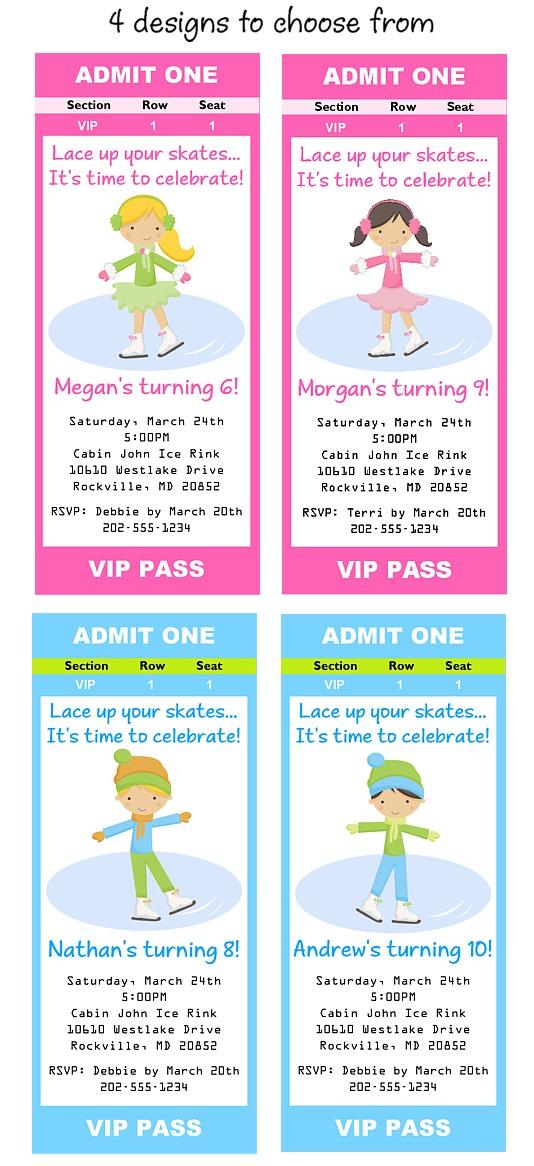 ice skating birthday invitations ice skating birthday party ticket invitations
