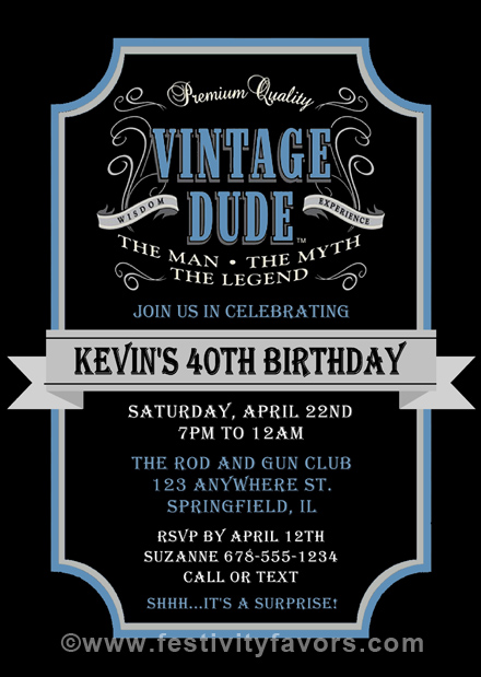 Vintage Birthday Party Invitations For A Man