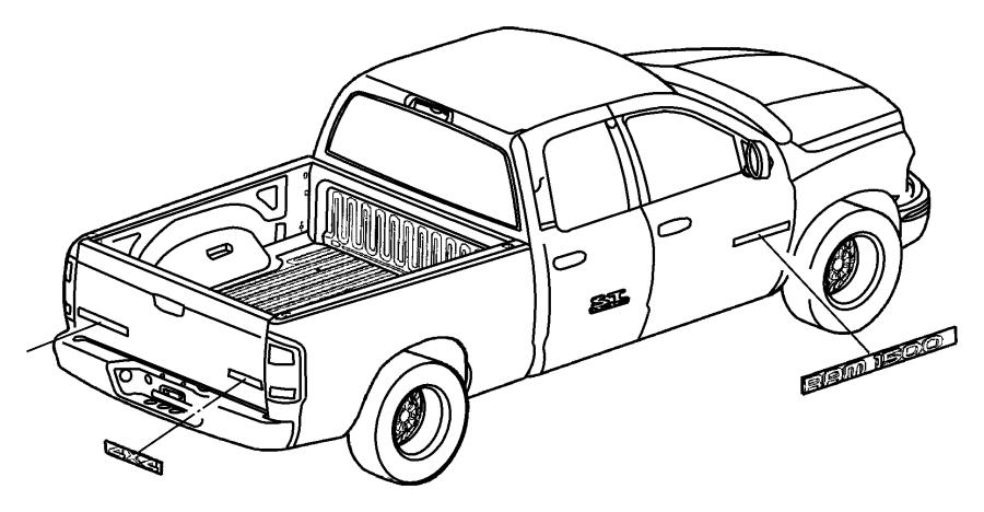 2004 Dodge Ram 2500 Emblem. APPLIQUE. Door. Edge molding