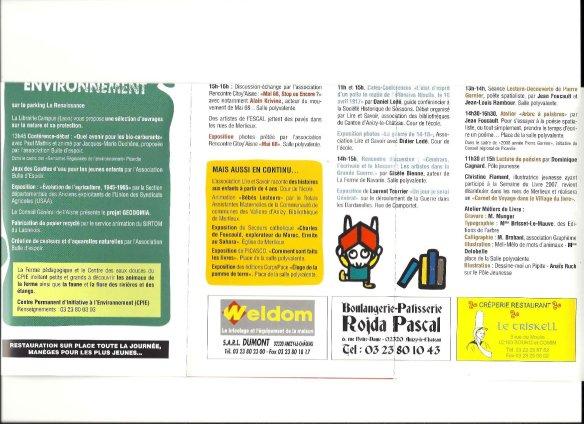 Programme Fête du Livre de Merlieux - 2008