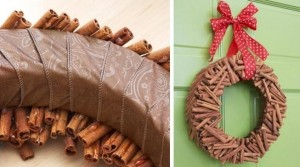 idées-bricolage-Noël-couronne-bâtons-cannelle-ruban-rouge
